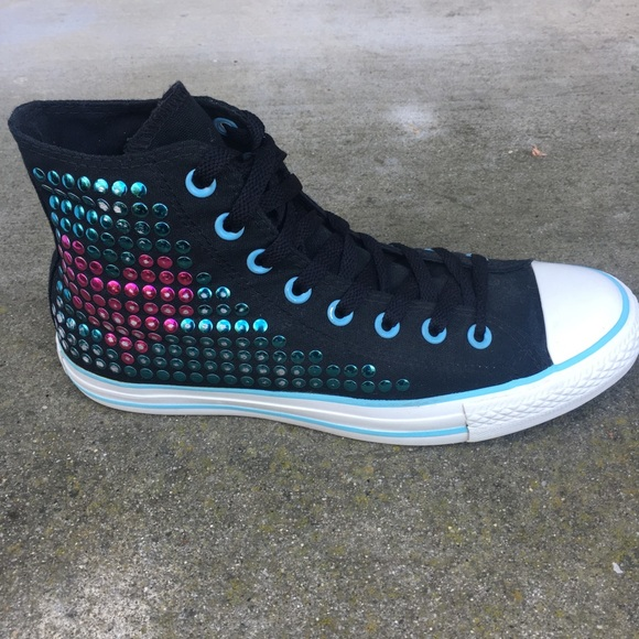 9a912dc33bc3 Converse Shoes - Convrse All Star Black Heart Pink Teal Stud HiTop
